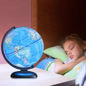 "8"" Illuminated Up-to-date Built-in LED Night Light World Earth Globe Rotating US"