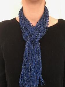 Details about Scarf Yarn Necklace Handmade ladder ribbon trellis Blue Navy  Shimmer