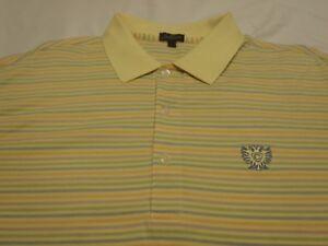 Jack-Nicklaus-Golf-Polo-Mens-Sz-L-YellowMultiColor-Striped-100-MercerizedCotton