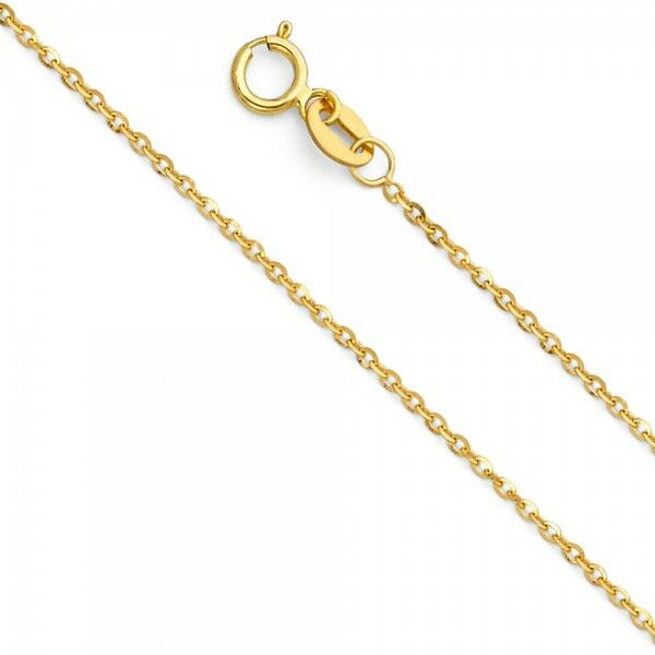 14K Yellow White gold 1.2 mm Bevelled Diamond Cut Cable Pendant Chain 16-22