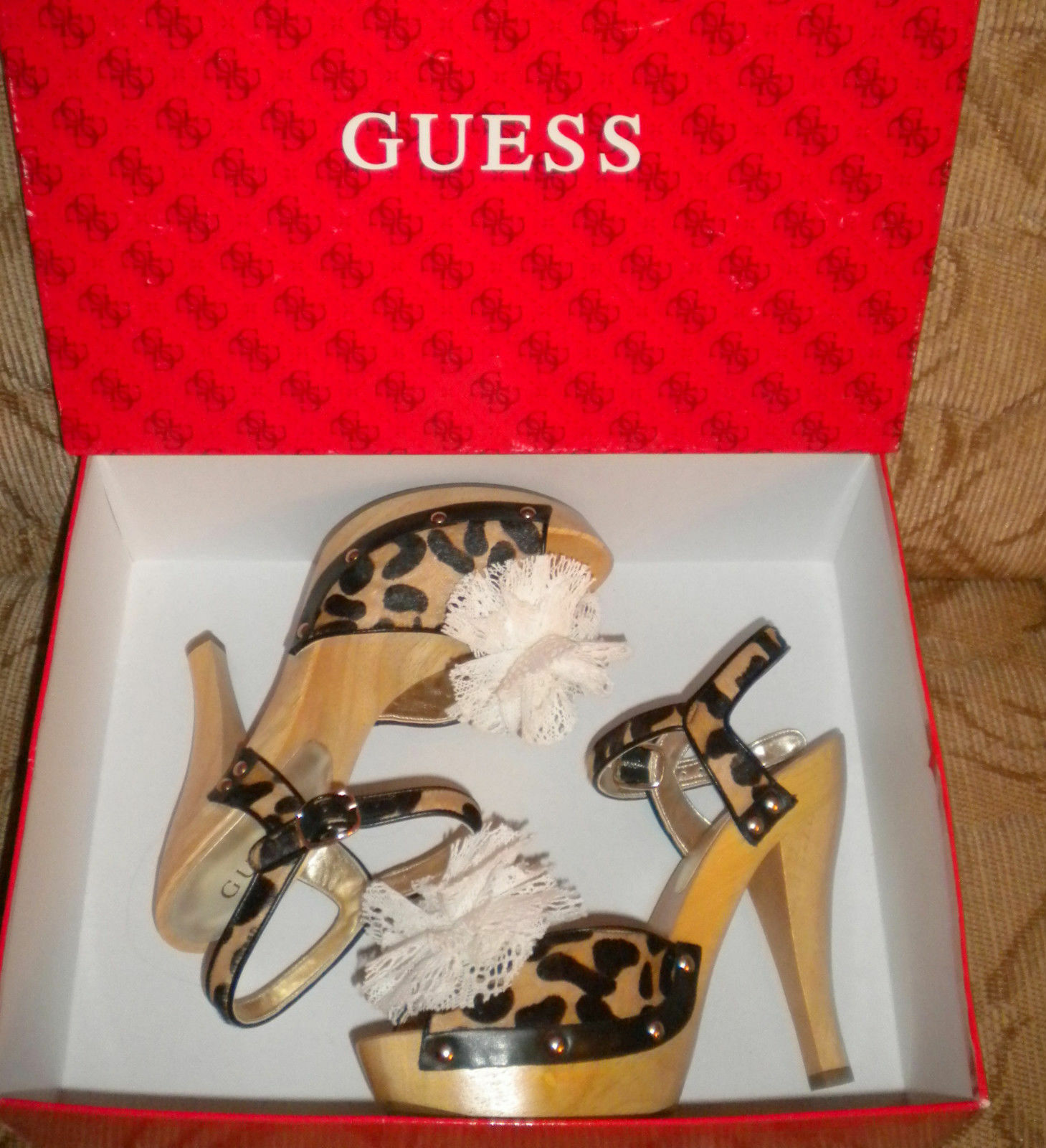GUESS Women's Velare Platform LEATHER HAIRCALF HAIRCALF HAIRCALF ANIMAL PRINT SHOES Size 8.0 M 2cf43f