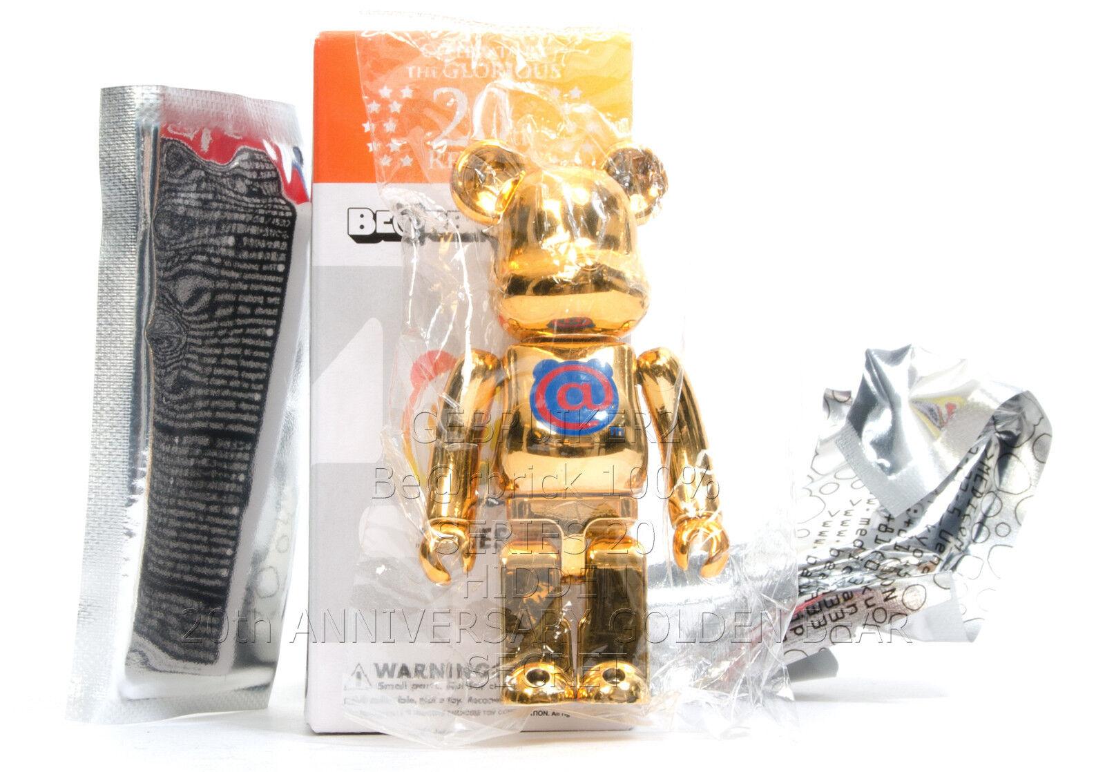 Medicom Toy Bearbrick 100% SERIES 20 SECRET 20TH ANNIVERSARY GoldEN BEAR