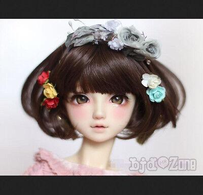 "8-9/"" 22-24cm Handsome Bear Brown Pear Flower Short hair For 1//3 SD BJD Doll Wig"
