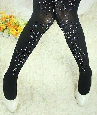 New black sexy Women rhinestone Punk Pantyhose velvet Stocking