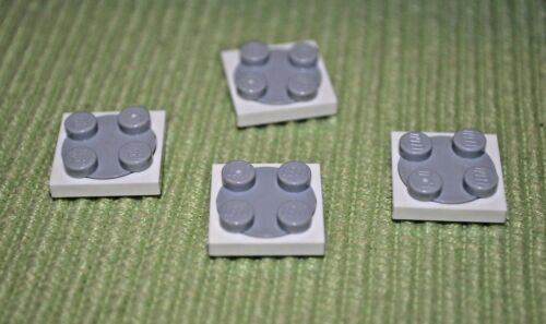 (4) 2x2 White / Gray Turn Table Plate Brick ~ Lego ~ NEW ~