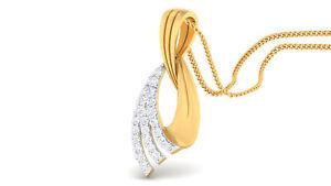 0-35-Cts-Runde-Brilliant-Cut-Pave-Diamanten-Anhaenger-In-Feines-Hallmark-14K-Gold