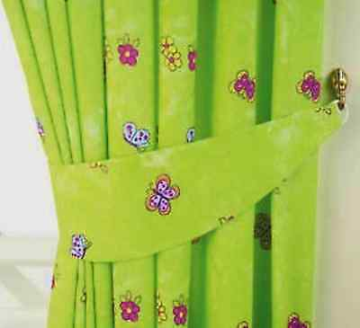 """Girls Lime Green Fairytale Princess Butterfly Bedroom Curtains 66""""x 54"""" 168x137"""