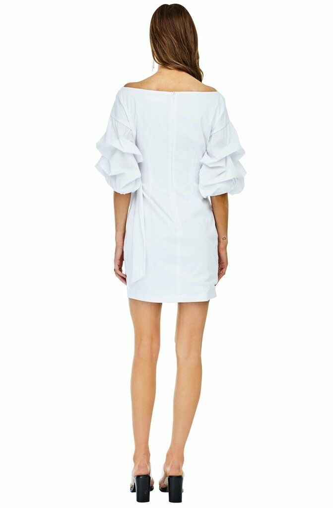 NEW ASTR the the the Label White Shea Off Shoulder Ruffle Surplice Wrap Cotton Stretch S 8d0f35