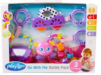 Baby Playgro Go With Me Rattle Pack 3 Fun Pieces For Baby Purple Brand New Strengthening Sinews And Bones Rattles