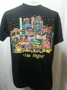 Vintage-039-91-Las-Vegas-Single-Stitch-T-Shirt-Fluorescent-Colors-Mens-Size-Large