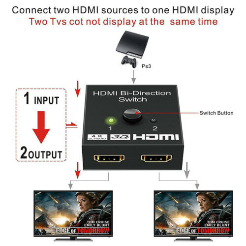 Gold Plated 2-Port HDMI Bi-directional 2x1 Switcher 1x2 Splitter SelectorY ZD ct