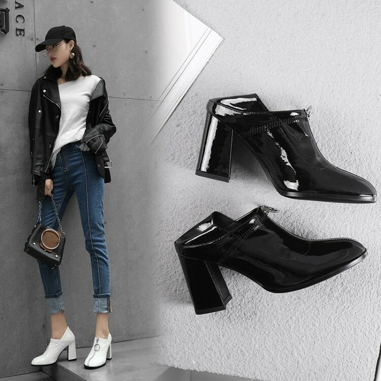 Casual Women Pointy Toe Block Heels Zipper Leather Pumps Winter Spring shoes