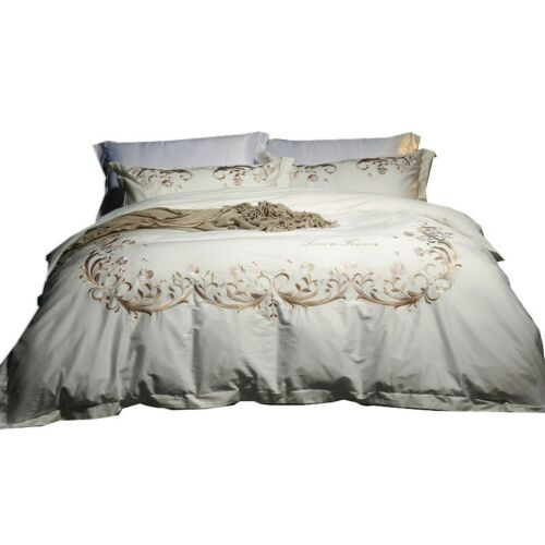long staple pure cotton bedding set 4pcs embroidered queen duvet cover bed cover