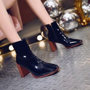 Womens-Ladies-Chunky-Block-Heel-Ankle-Boots-Size-Zip-Square-Toe-Shoes-Casual-New