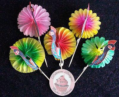 PEACOCKS Beautiful Paper 3D Stand Up Cupcake Food Picks Cocktail Sticks UK