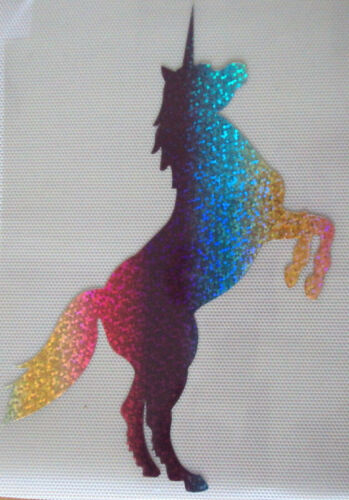 Unicorn Hologramme//Holographique T-Shirt Iron On Transfert *