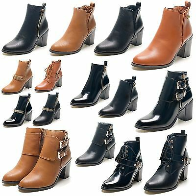 New Ladies High Block Heel Twin Gusset Chelsea Womens Shoes Ankle Boots Size