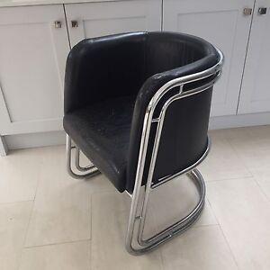 Awesome Details About Retro Industrial 1930S Deco Bauhaus Style Chromed Steel Leather Chair Frankydiablos Diy Chair Ideas Frankydiabloscom