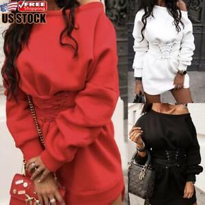 Women-039-s-Sexy-One-Shoulder-Plain-Sweatshirt-Mini-Dress-Ladies-Long-Sleeve-Jumper