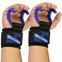 Heavy Duty Weight Lifting Rod Hooks Neoprene Padded Wrist Wraps Power Lifting Bl