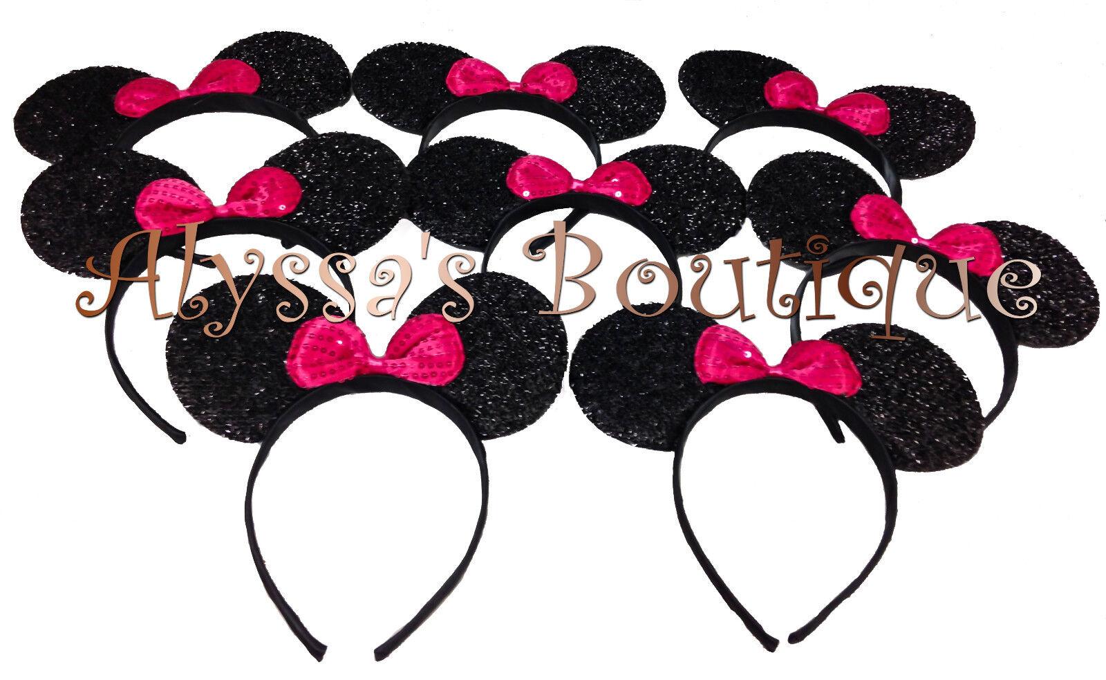 12 pcs Minnie Mickey Mouse Ears Headbands Shiny Black Silver Pink Birthday Party