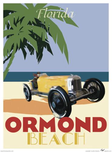Vintage Art Deco Style Travel Poster-by Aurelio Grisanty Ormond Beach Florida