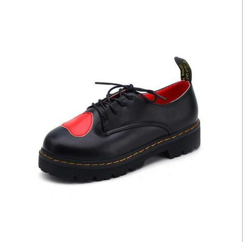 Women/'s Korean Fashion Casual Round Toe Red Heart Flat Shoes Lace-up PU Leather