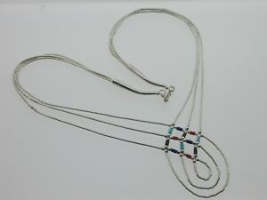 Unique-Boho-3-Strand-Sterling-Silver-and-Coloured-Bead-Necklace-with-hook-clasp