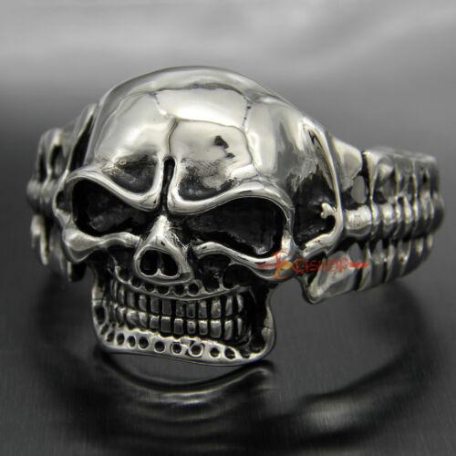 Mens Heavy Vintage Stainless Steel Biker Skull Cuff Bangle Bracelet Silver Black