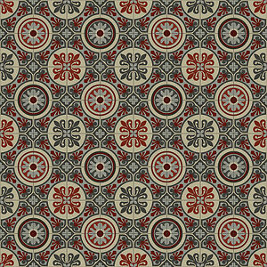 Quality Vinyl Flooring Lino Kitchen Baroque Lagos Red Grey