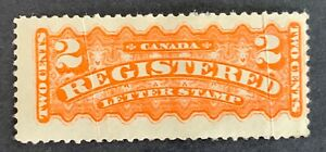 Canada-F1-Registered-Mail-stamp-mint-hinged-creased