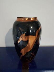 Vase-art-nouveau-art-deco-noir-et-cuivre-Copper-vase-J-DOUAU-Gazelles