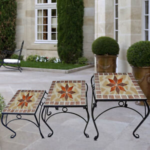 Set of 3 Mosaic Flowers Stool Garden Table Seat Furniture Decoration ...