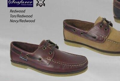Zapatos de Cubierta SEAFARER REDWOOD tan Azul Marino Libre Post/canotaje Zapatos/Nuevo Y En Caja