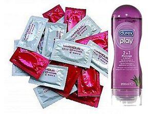 50 x Marken Condome + Durex Play 2 in 1 Massage Öl & Gleitgel 200 ml