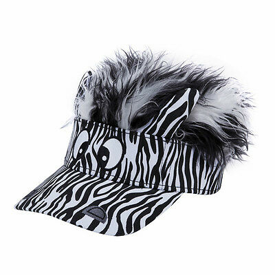 FLAIR HAIR HATS WITH HAIR KIDS SIZE PANDA VISOR TOP QUALITY PARTY FUN WIG HAT