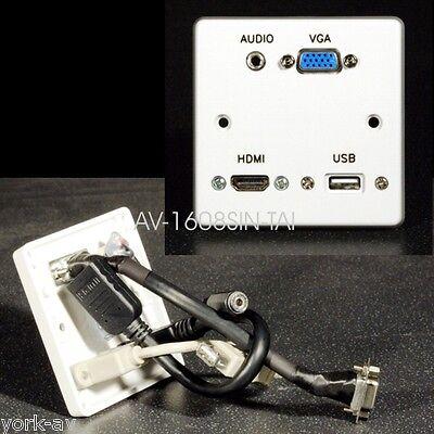 Av Wandplatte, Einfach, Vga Video /hdmi/3.5mm Audio Buchse / Usb2 A Buchsen