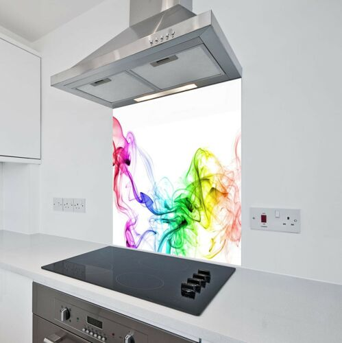 Toughened Heat Resistant Printed Kitchen Glass Splashback Coloured Smoke Design