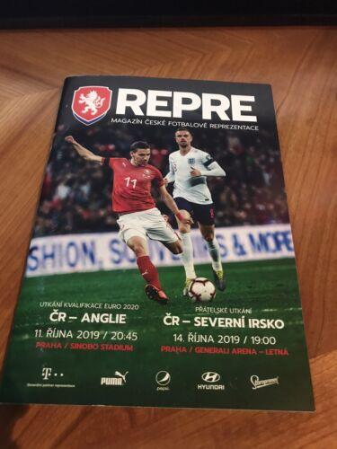 Czech Republic v England Football Programme 11//10//19 Prague /& Northern Ireland