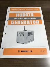 Genuine Kubota Gv3120 Generator Parts Book Catalog Manual