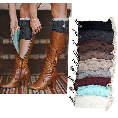 Nice Lady's Crochet Knitted Lace Trim Boot Cuffs Toppers Leg Warmers Socks gift