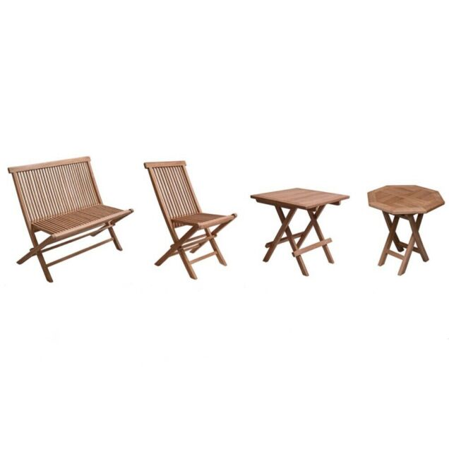 Brilliant Solid Teak Wood Folding Garden Bench Chair Table Set Patio Outdoor Furniture Home Remodeling Inspirations Propsscottssportslandcom