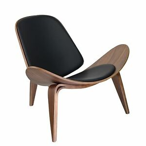 Image Is Loading Hans Wegner Shell Style Chair Ch07 Black Leather