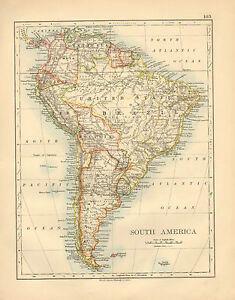 1892 VICTORIAN MAP ~ SOUTH AMERICA PERU BRAZIL COLOMBIA CHILE ARGENTINA BOLIVIA