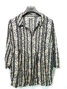 Woman-Within-2X-Black-Pink-Yellow-Floral-Shirt-3-4-Sleeve-V-Neck-Rayon-Blouse-2X