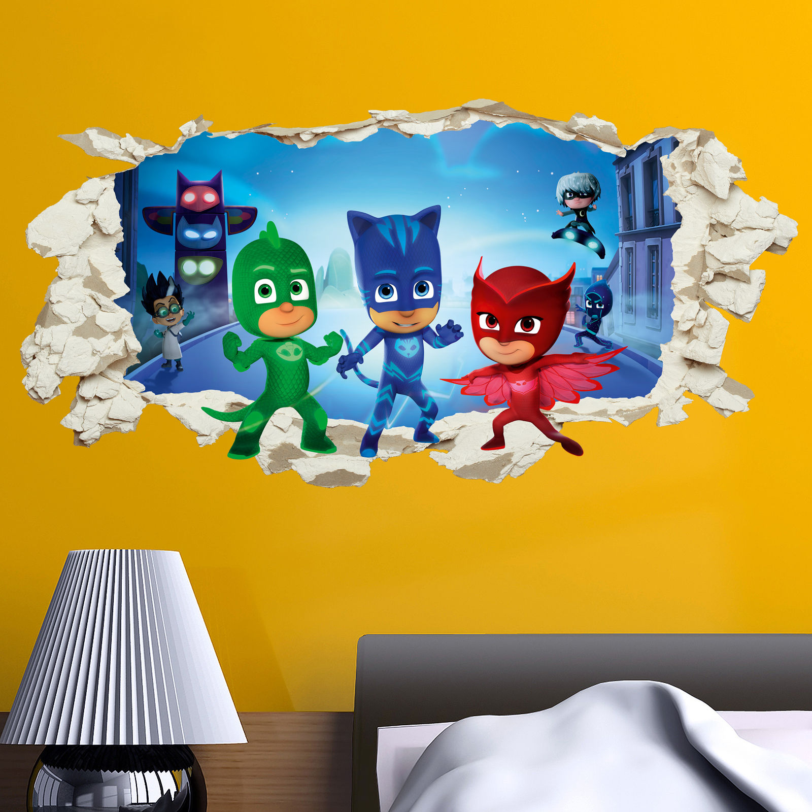 PJ Masks in wall Crack Kids Boy Girls Bedroom Vinyl Decal Sticker ...