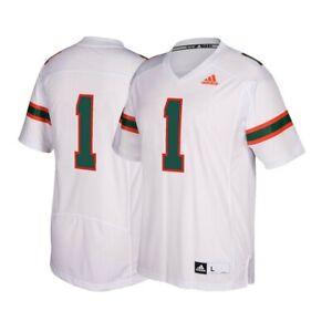 Detalles acerca de Miami huracanes #1 de la NCAA Adidas para hombre Blanco Premier camiseta de fútbol- mostrar título original