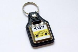 Fiat 127 Keyring - Leatherette & Chrome Classic Italian Retro Car Keytag