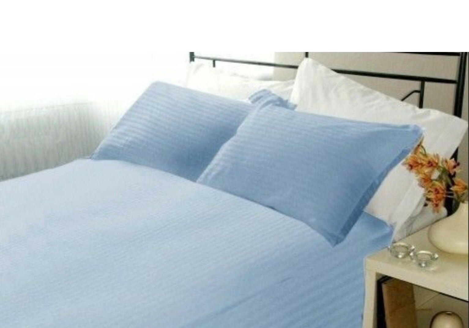 1000 TC Decent Bedding Collection 100%Cotton US Sizes Sky blueeeee Striped