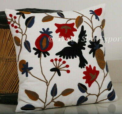 Ethnic Cotton Floral Couch Cushion Cover Luxurious Embroidery Throw Pillow Case Ebay